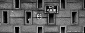 No Parking - Black and white photograph