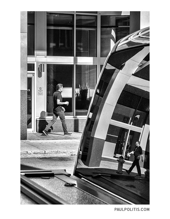 Duality – Street Reflections (black and white photograph)