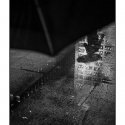 Untitled – Puddle Reflection (black and white photograph)