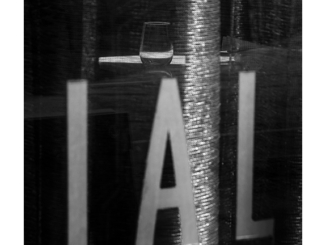 A Series # 17: Restaurant Window (black and white photograph)