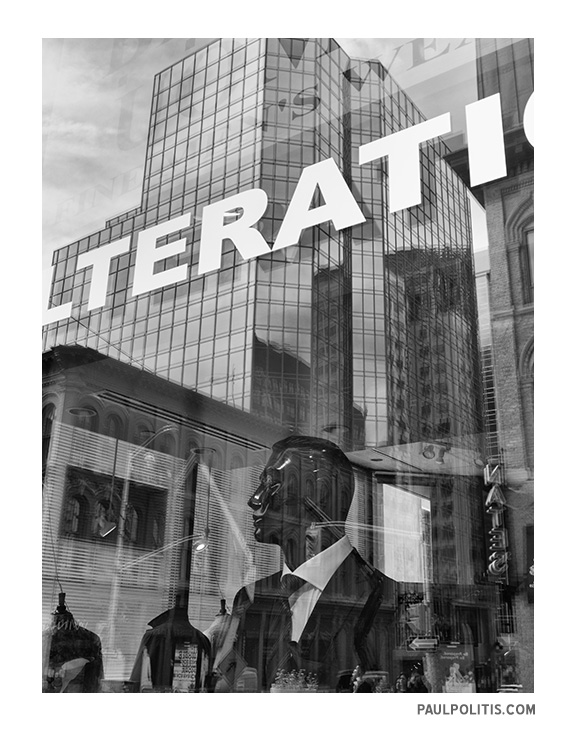 Altered State: Window Reflections (black and white photograph)