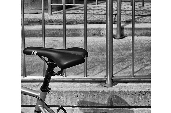 Bicycle Verticals (black and white photograph)
