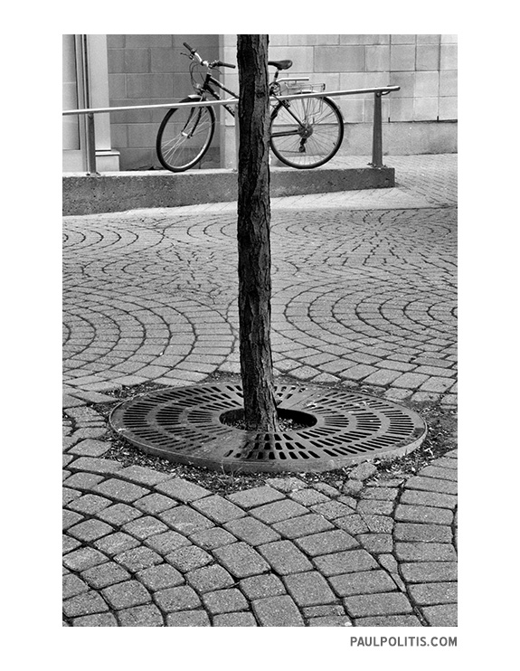 Bicycle Vortex (black and white photograph)