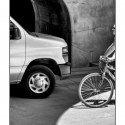 Bike and Van (black and white photograph)