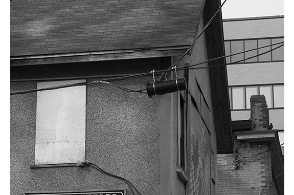 Birds on Rooftop (black and white photograph)