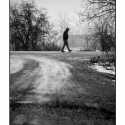 Untitled (Walking Man) (black and white photo)