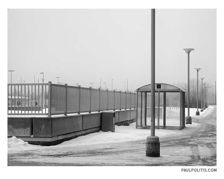 Bus Shelter, Winter (black and white photograph)