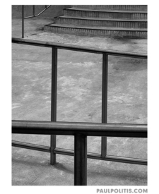 Public Pool Railing and Stairs (black and white photograph)