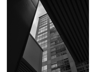 Black and white architectural abstract photograph by Paul Politis