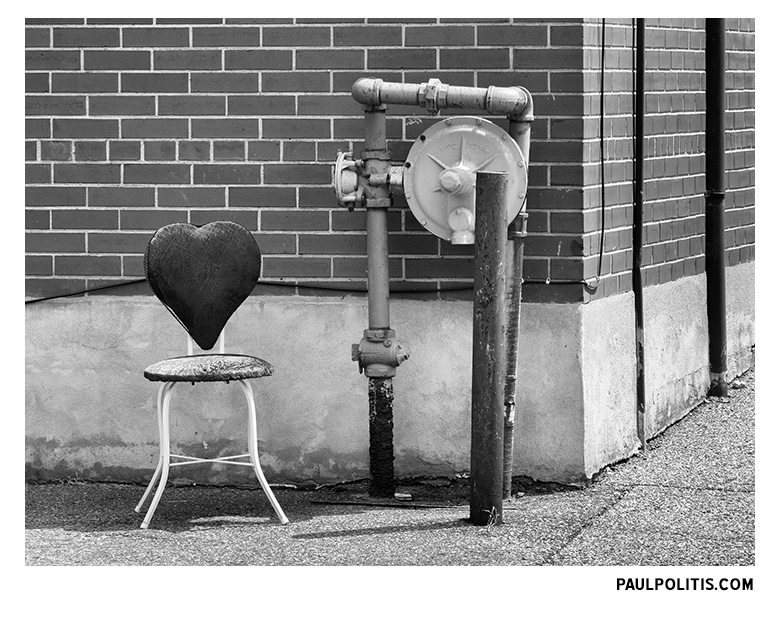 Heart Chair (black and white photograph)