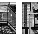 Metal and Brick Urban Abstract Diptych (black and white photograph)