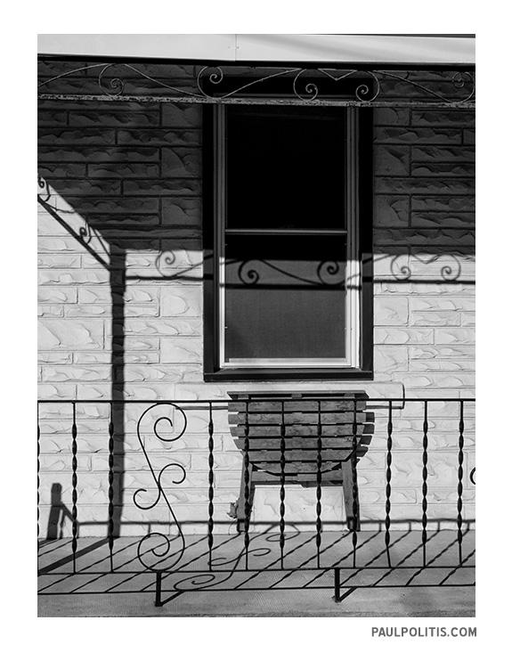 Porch Shadows ((black and white photograph)