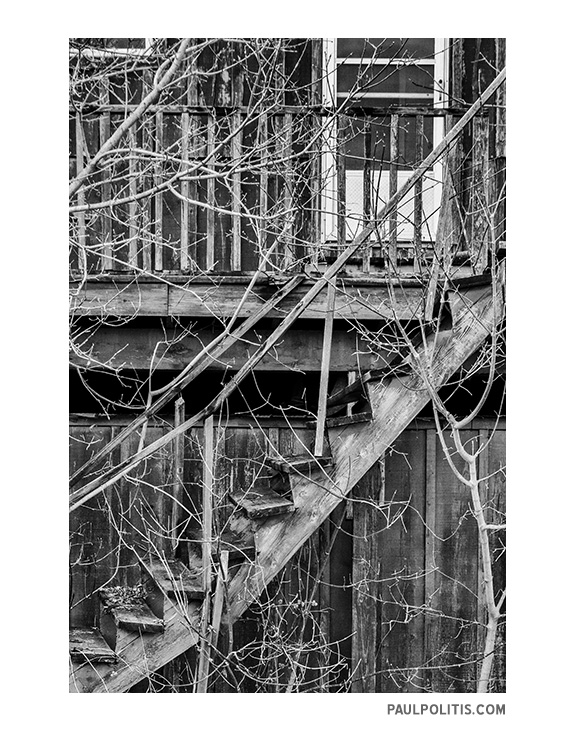 Stairway to a Forgotten Place (black and white photography by Paul Politis), 2018