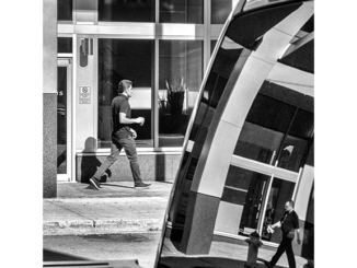 Duality - Street Reflections (black and white photograph)