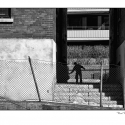 Untitled (Alley Silhouette) (black and white photograph)