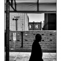 Untitled (Silhouetted Man) (black and white street photography)