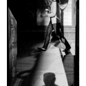 Untitled – Lamp Post Shadow (black and white photograph)