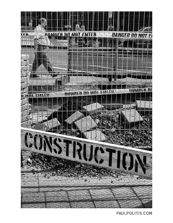 Construction Zone (black and white photograph)