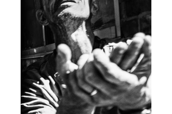 Urban Inmate P1080491 (Plea) (black and white photograph)