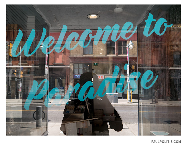 Welcome to Paradise (colour photograph)