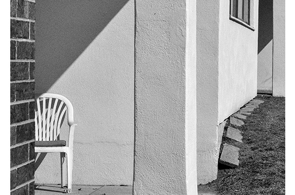 White Chair (black and white photograph)