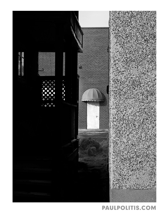 Doorway and Canopy (black and white photograph)